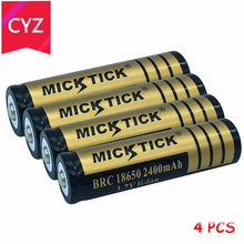 4PCS 3.7V 2400mAh 18650 BCR MICKTICK Battery batteries batteria lithium Li Ion Rechargeable Capacity Battery T6 Flashlight