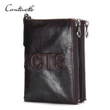CONTACT'S 2017 Neue Marke Design Mode Für Männer Brieftasche Reißverschluss Pureses berühmte marke Aus Echtem Leder Kurze Brieftaschen Kupplung Münzen Taschen