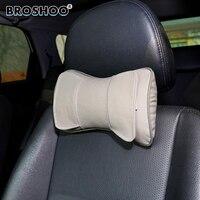 BROSHOO 1Pair Hot Sale Top Quality Genuine Leather Headrest Neck Pillow Car Rest Cushion Car Pillow