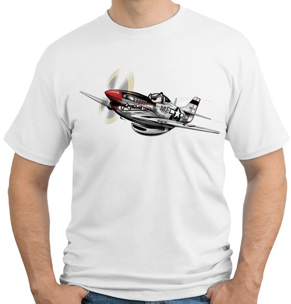 Summer Tops For Man P-51 Mustang WWII Fighter Mens T-shirt #804 Military Airplane O Neck Tee Shirt Short Sleeve