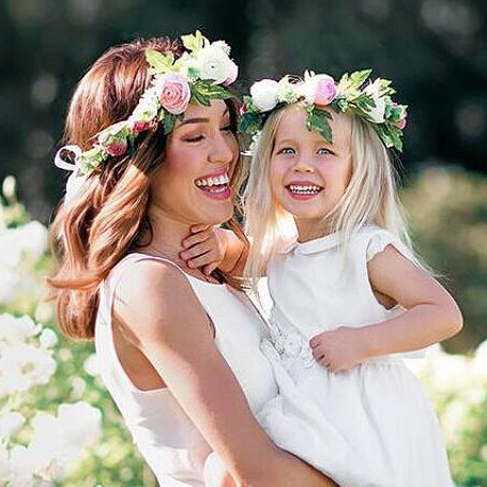 1/2PC Fashion Cute Mommy & Kid Wreath Flower Headband Floral Crown Hairband Travel Wedding Girl   Headwear   Floral Hair Accessories