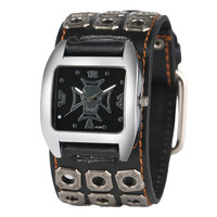 Quartz Leather Band Strap Cuff Rock Skull Cool Modern Stylish Wrist Watch Chain Casual Punk Sport