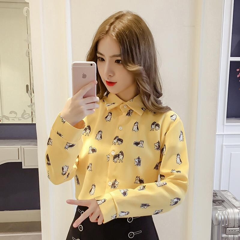 Women's Clothing Fashion Style Streetwear Chiffon Tops Designer Fashion Brand Spring Women Blouses Turn-down Collar Shirts French Bulldog Blusa Vetement Femme