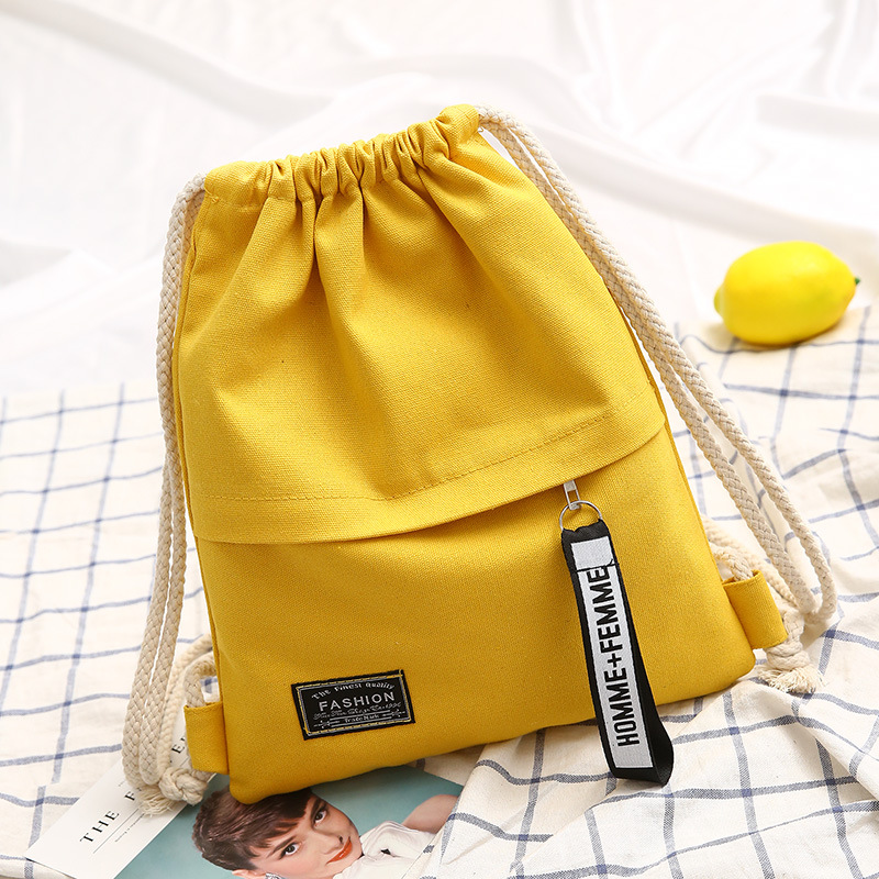 Dropshipping Fashion Canvas Drawstring Backpack Bag Portable Casual String Knapsack for Women Shoulder Bag 5 Colors