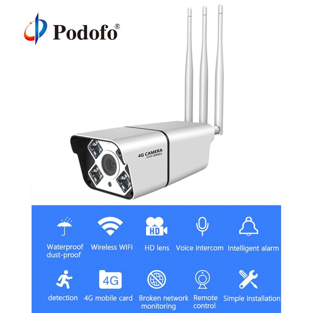 Podofo 1080P Outdoor 4G IP Camera Surveillance Outdoor Wifi CCTV Metal Bullet Camera Security Video Waterproof