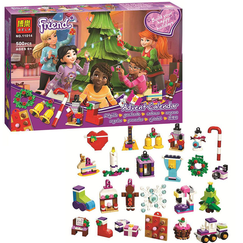 Bela 11014 Girl Friends Advent Calendar Building Block Bricks Toys Compatible With Legoings Friends 41353 Christmas Gift