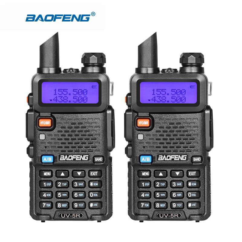 imágenes para 2 unidades de baofeng UV-5R de banda dual transceptor de radio de doble pantalla de walkie talkie comunicador de radio UV5R walkie talkie portátil conjunto