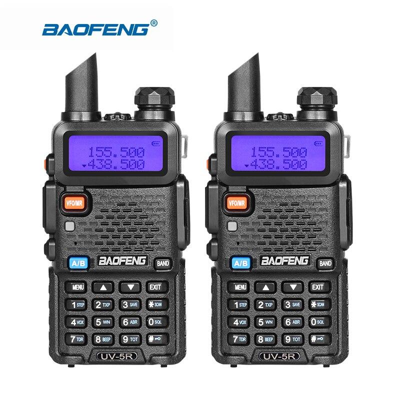 2pcs Baofeng UV-5R Walkie Talkie Dual Band UHF VHF Radio Communication UV5R Portable Walkie Talkie Set Baofeng 5R Radios Black
