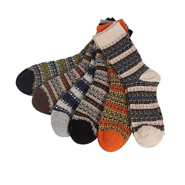 8b82585a225 US $13.76 15% OFF|Winter hoge kwaliteit mannen dikke warme wollen sokken  mannelijke vintage geometrie patronen lange katoenen sokken 6 paren/partij  in ...