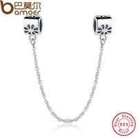 Special Gift 925 Authentic Silver Flower Daisy Safety Chain Charm Fit Pandora Bracelet Necklace Jewelry Accessories