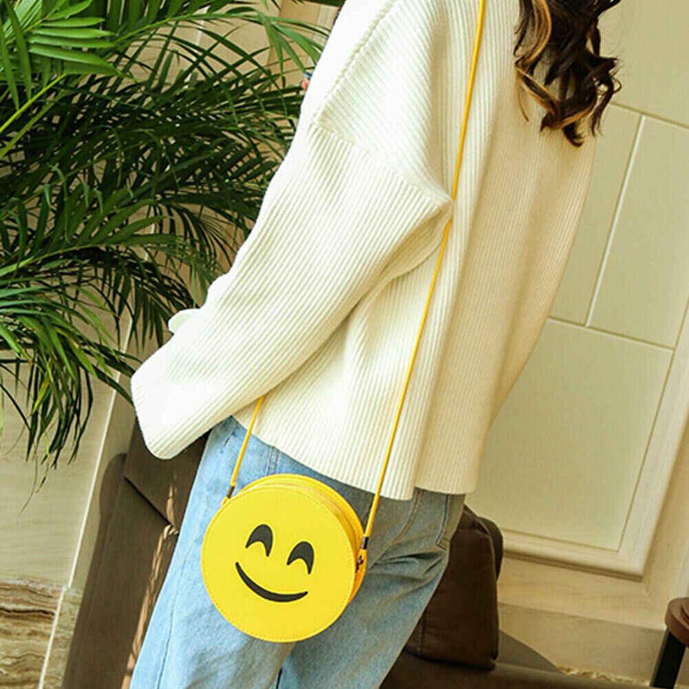 2019 Mais Novo Hot Kawaii Meninas Dos Desenhos Animados Mini Emoji Saco Crossbody Mulheres Rodada PU Sacos de Ombro Bonito Rodada Bolsa Escola Criança
