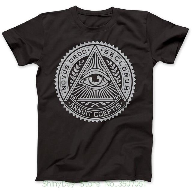 T חולצה O-צוואר אופנה מזדמן באיכות גבוהה הדפסת T חולצת האילומינטי סמל העין חולצה 100% פרימיום כותנה
