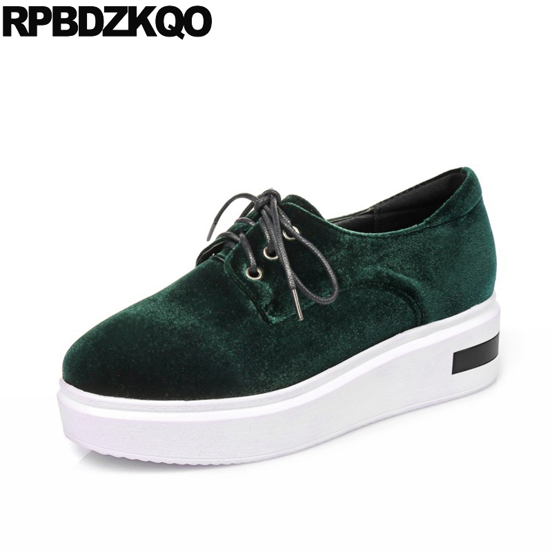 Elevator Flats Chinese Muffin Velvet Creepers Platform Shoes Thick Sole China Factory Direct Women Green Spring Autumn Beautiful