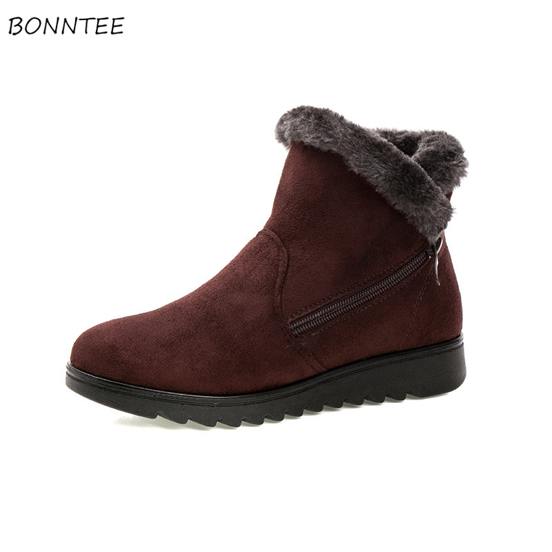Boots Women Winter Snow Boot Zipper Suede Warm Fur Plush Australia Shoes Womens Ankle Ugly Round Toe Fashion Female Non-slip suede