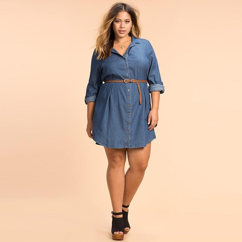 plus size denim dress women 6xl 5xl 2016 Autumn OL Style Long Sleeve Shirt  Dress Loose High Waist Solid A Line New Women Dresses-in Dresses from  Women s ... 3387ad30f9f5