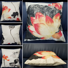 Lotus Decorative Pillows Chinese Ink Painting Cotton Linen Cushion Cover Flower For Sofa Car Bed Home Decor Square Throw Pillow