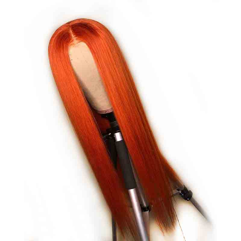 Straight Orange Colored Human Hair Wig 13X6 Deep Part Lace Front Brazilian Remy 360 Full Frontal
