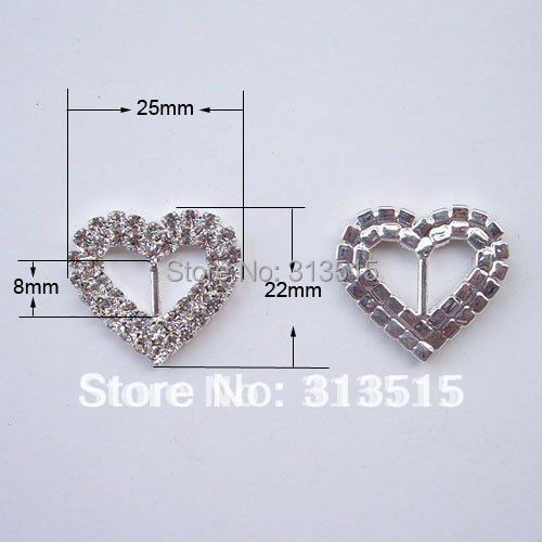 M0204 8mm inner bar heart rhinestone ribbon slider for wedding invitation outer size 25mmx22mm silver