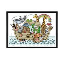Joy Sunday Noahs Ark Landscape Painting Cross Stitch Sets For Embroidery Kits 11ct 14ct DMC Threads DIY Handmade Needlework Set