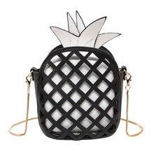 b644cc7d95c Moda mujeres Lindo bolso precioso piña chica PU cuero Messenger Bag con  cadena ahueca hacia fuera Mini fruta hembra hombro