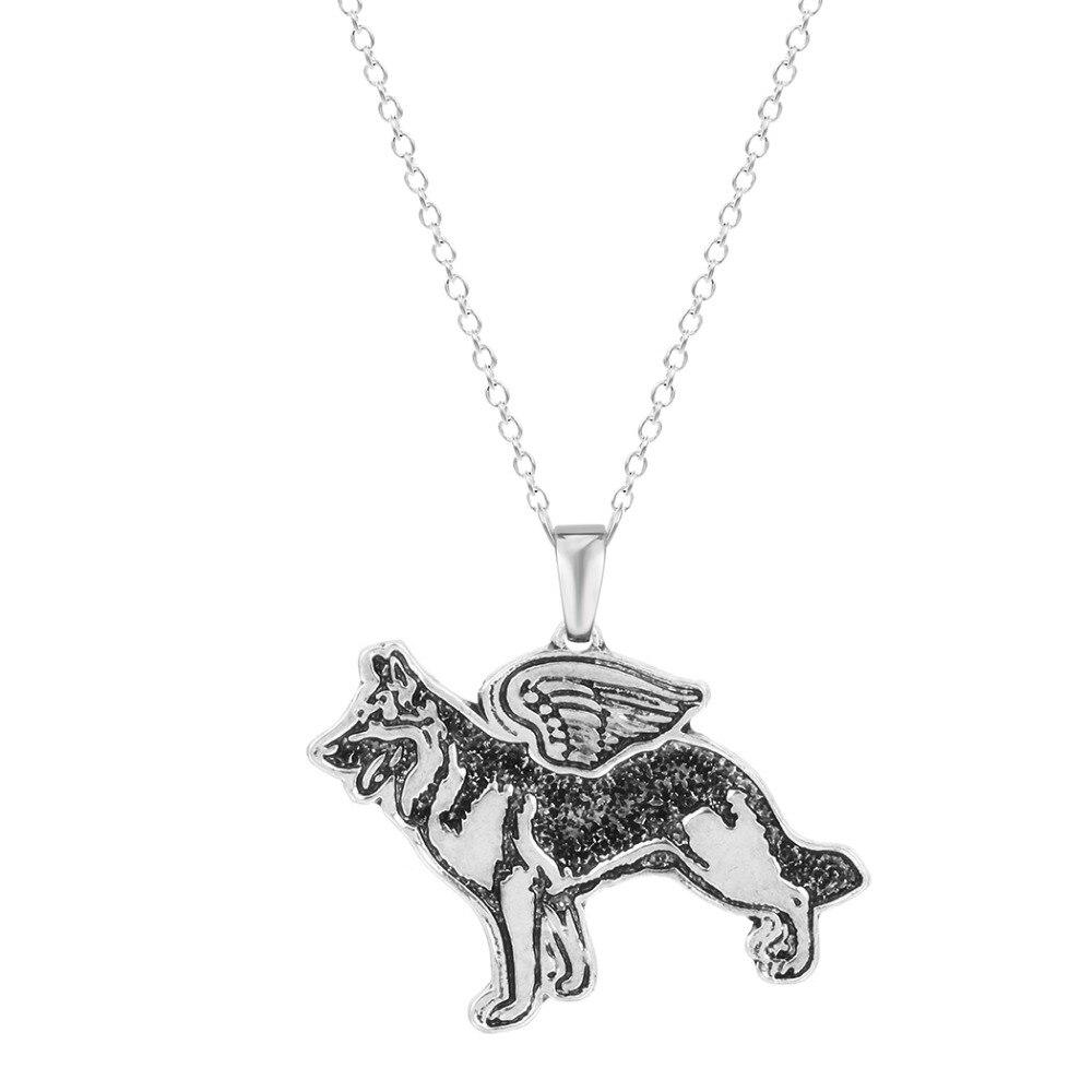 Qiamni любителей животных ручной работы Пособия по немецкому языку Shepherd Ангел Щенок животных уникальный Ожерелья и подвески подарок для Для ж... ...