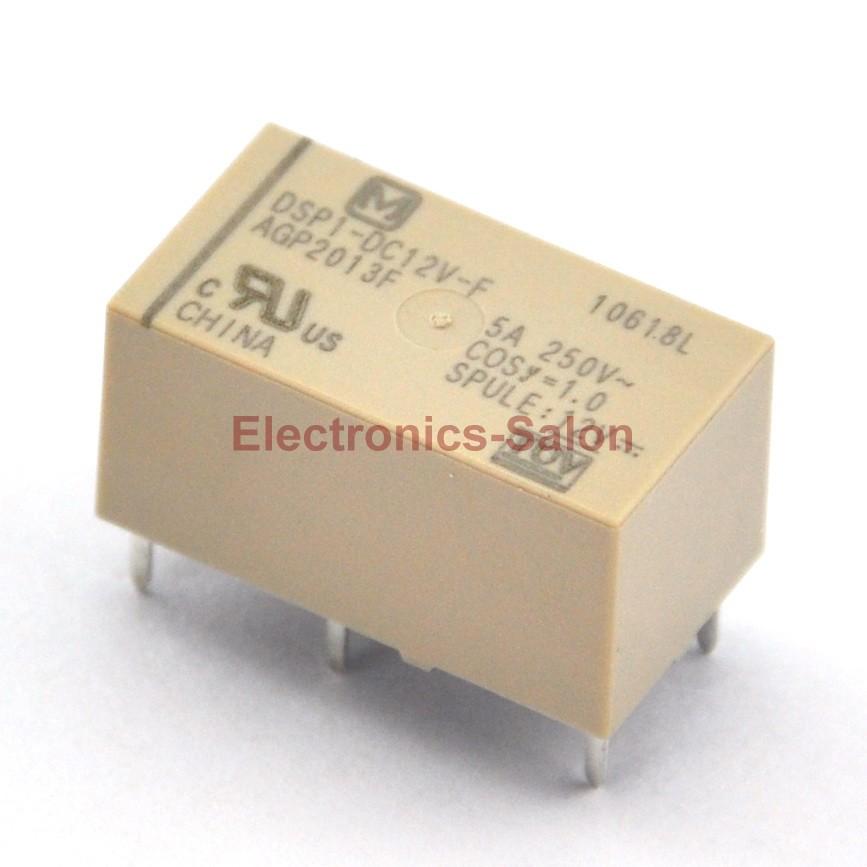 ( 2 Pcs/lot )  DSP1-DC12V-F Small Polarized Power Relay, 1 Form A 1 Form B.