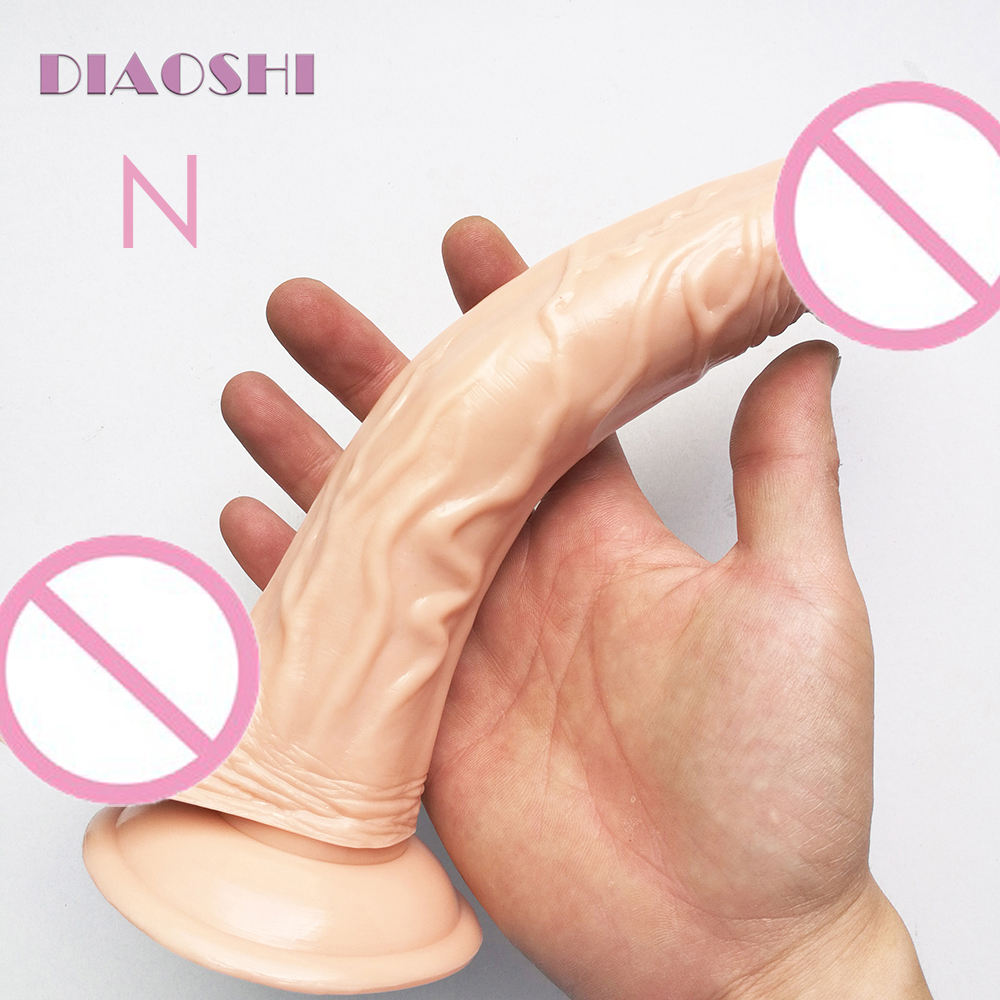 DIAOSH 22.6cm Realistic Curved Dong Dildo with Super Suction Cup, Flexible Penis Gay Sex Toys Dick Erotic Products For Female фаллоимитатор dong with suction cup 6 5 телесный