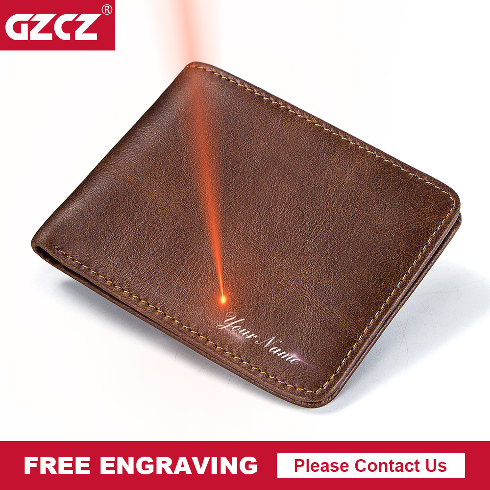 GZCZ Wallet Slim Purse Engraving Small Money-Bag Dollar Portomonee New-Design Men Free