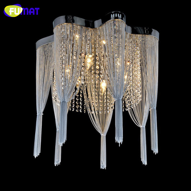 Fumat K9 Crystal Chandelier Empire Silver Chain Suspension Res Lamp Living Room Bed Tassels