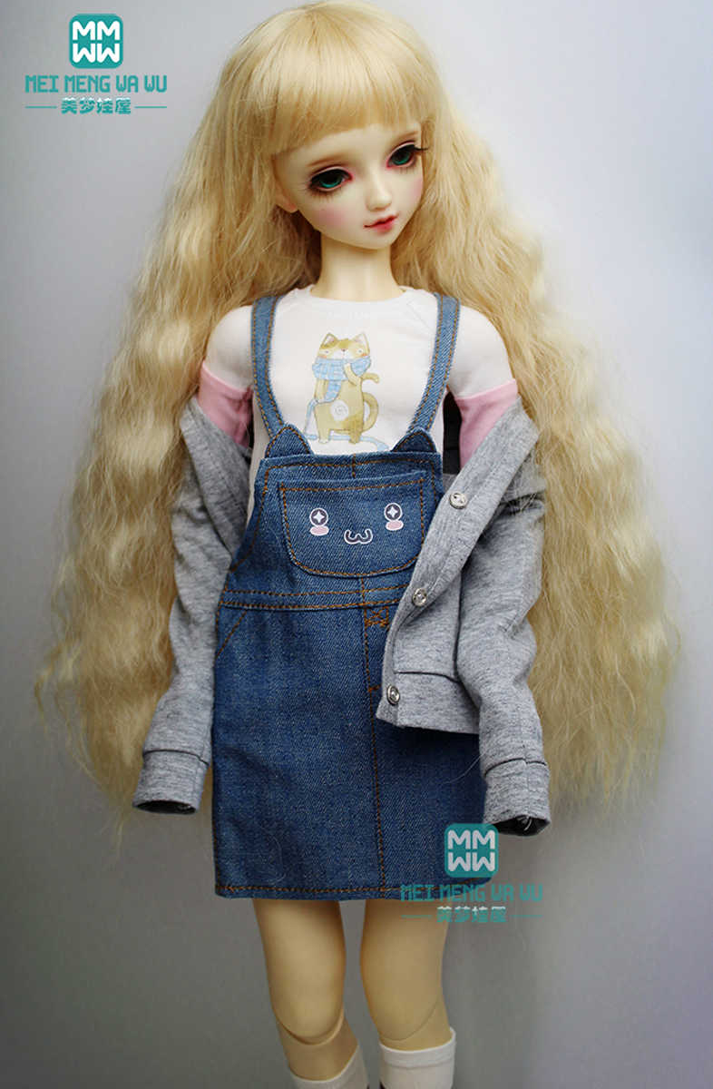 BJD accessoires pop kleding voor 1/3 BJD pop mode toevallige denim rok Vest sok