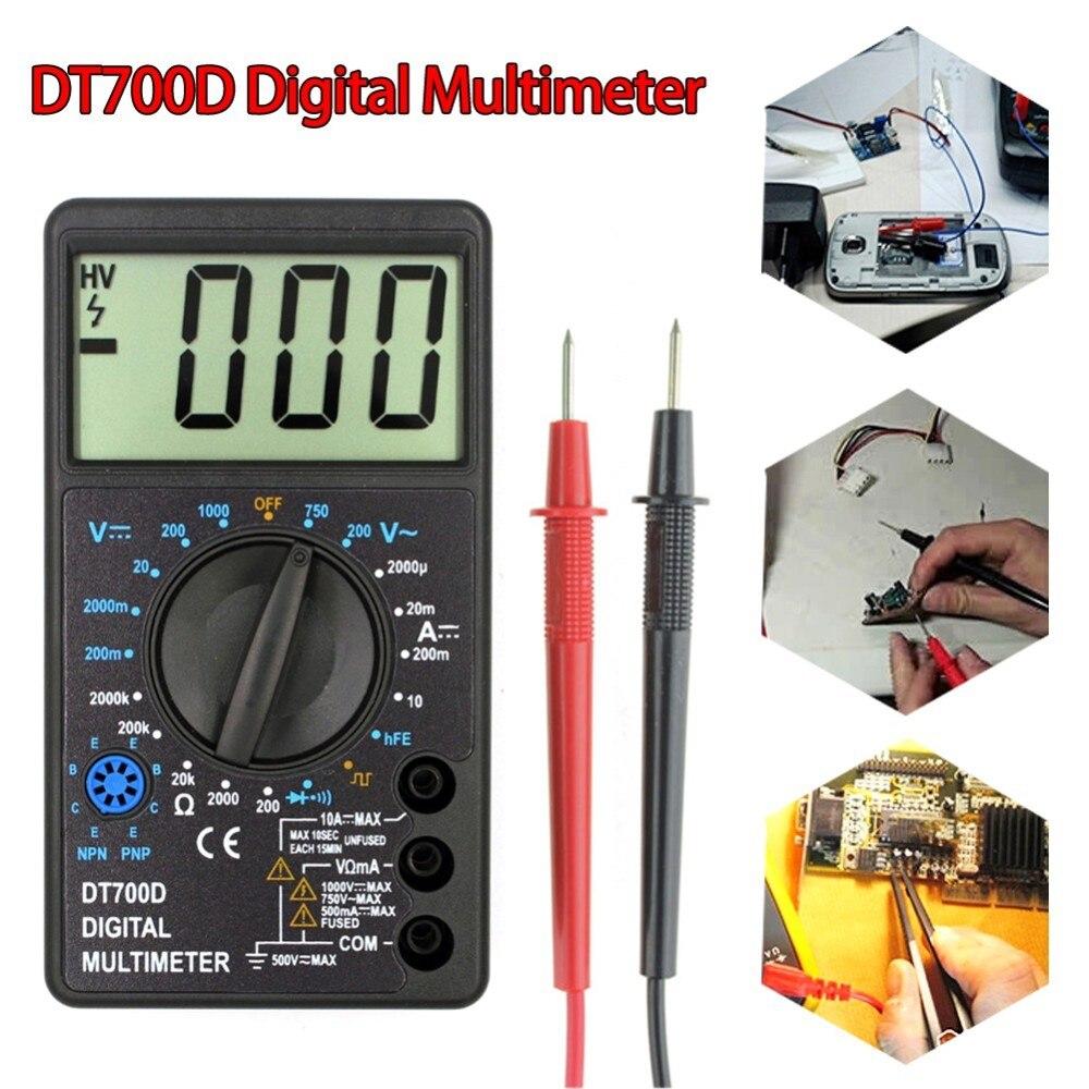 DT700D Mini Multímetro Digital Tela Grande proteção Contra Sobrecarga Buzzer Tensão de Onda Quadrada de Saída Ampere Ohm Tester Probe