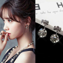 Black Crystal Bow Girl Stud Earrings Synthetic Lady