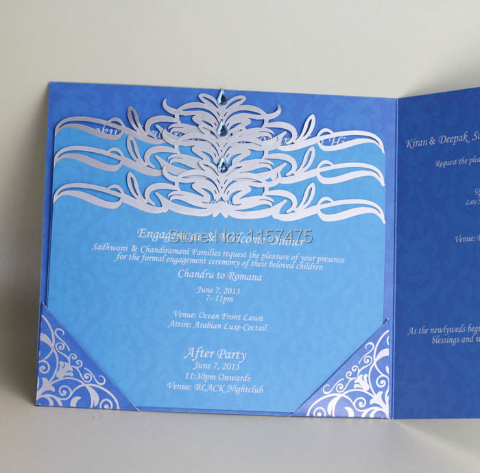 HI3012 Cusomized Dark Blue Wedding Invitation with Laser Cut Cards ...
