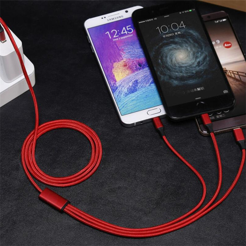 3 in 1 Fast Charging USB Cable 2.4A For iPhone 7 6 6S 5 5S S