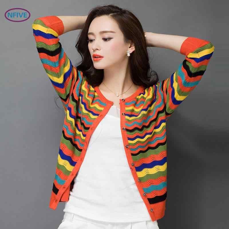 NFIVE Marka 2018 Kadın Ince Ince Ceketler Yeni Moda Kore Sonbahar Şerit Hırka Uzun Kollu Tek Göğüslü Örgü Ceket