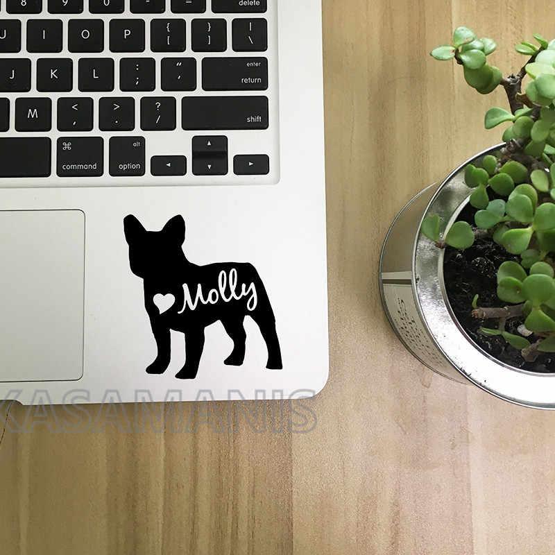Персонализированные виниловые наклейки с французским бульдогом, художественный декор, пользовательские наклейки с именем французского бульдога для автомобиля, ноутбука, украшение для ноутбука