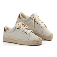 Tienda Soludos Womens Lace-up Espadrilles Casual Flock Platform Sneakers Sewing Wedges Shoes For Women Flat Round Hemp
