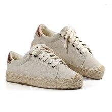 أحذية رياضية نسائية دانتيل من Tienda sludos أحذية رياضية للخياطة بنعل مستدير من قماش القنب برباط علوي