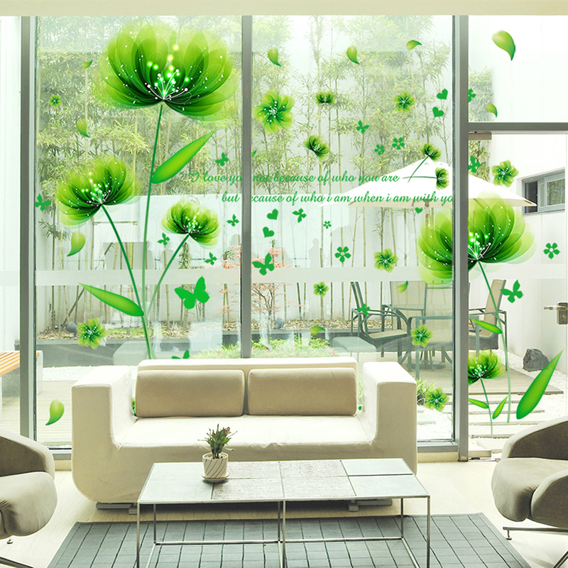 Green Wizard Wall Sticker Pvc Material Creative Flower