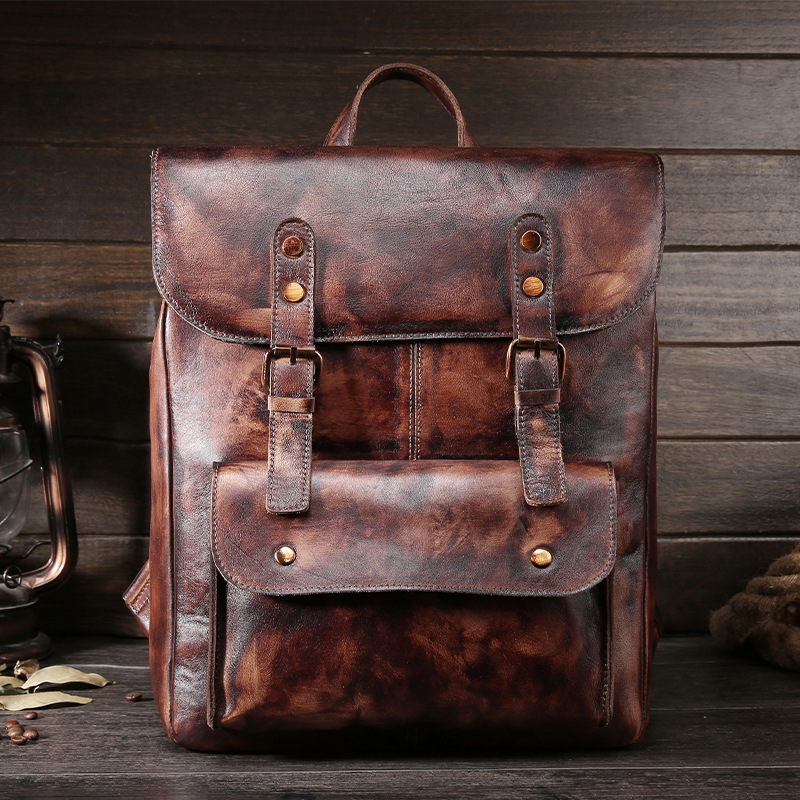 High Quality Men Genuine Leather Backpacks Vintage Famous Brand Oil Waxing Leather School Bag for Boys Unisex Shoulder Bag 1002 famous brand luxury men backpack genuine leather vintage mochila black men sport double shoulder bag men s backpacks bp00042
