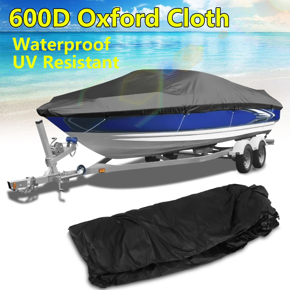 20ft-22ft 600D Boat Cover Heavy Duty Trailerable Outboard Engine Cover Beam 96 M Marine Grade Waterproof anti-UV Protected black heavy duty 14 16ft 600d beam 90inch trailerable marine grade boat cover for yacht boat waterproof anti uv boat accessories