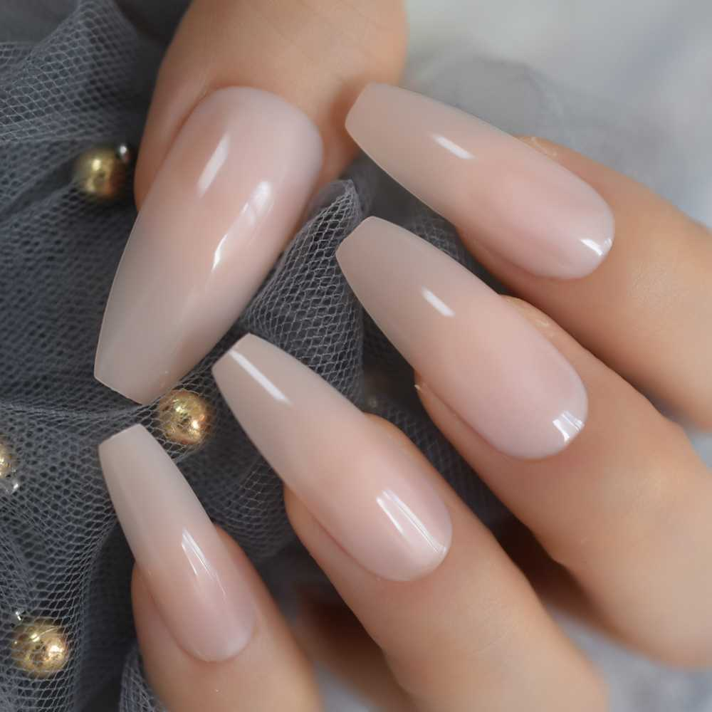Nude Extra Long Fake Nails Coffin Full Cover Glossy False Nail Long Ballerina Nails with Glue Sticker
