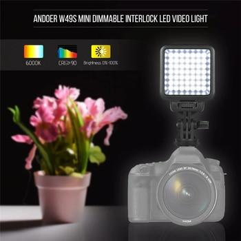 Luz de relleno de 49 LED para cámara de vídeo, lámpara de iluminación fotográfica con soporte regulable para Zapata, luz de alimentación con batería AA de 6000K para cámara DSLR