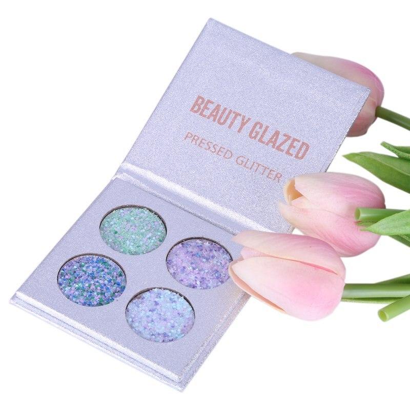 Beauty Glazed 4 Colors Eyeshadow Palette Matte Diamond Glitter Foiled Eye Shadow 1PC Palette Blush Makeup Cosmetic Set 23
