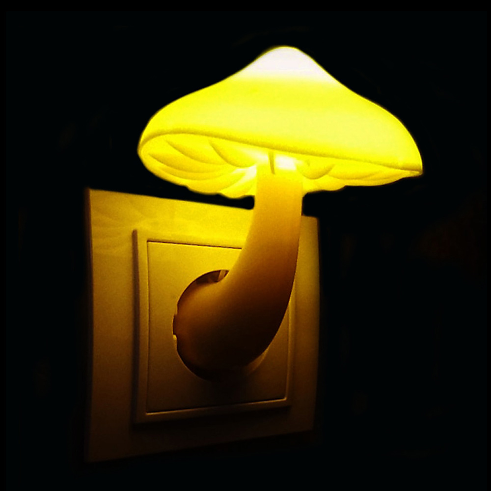 Warm Mushroom LED Night Light Room Decor EU US Plug Light-control Sensor Wall Socket Lamp Light Home Bedroom Decoration