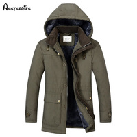 New Men's Winter Cotton Padded Jacket Warm Cashmere Parkas Fashion Father Thick Warm Fleece Outwear Jackets D128