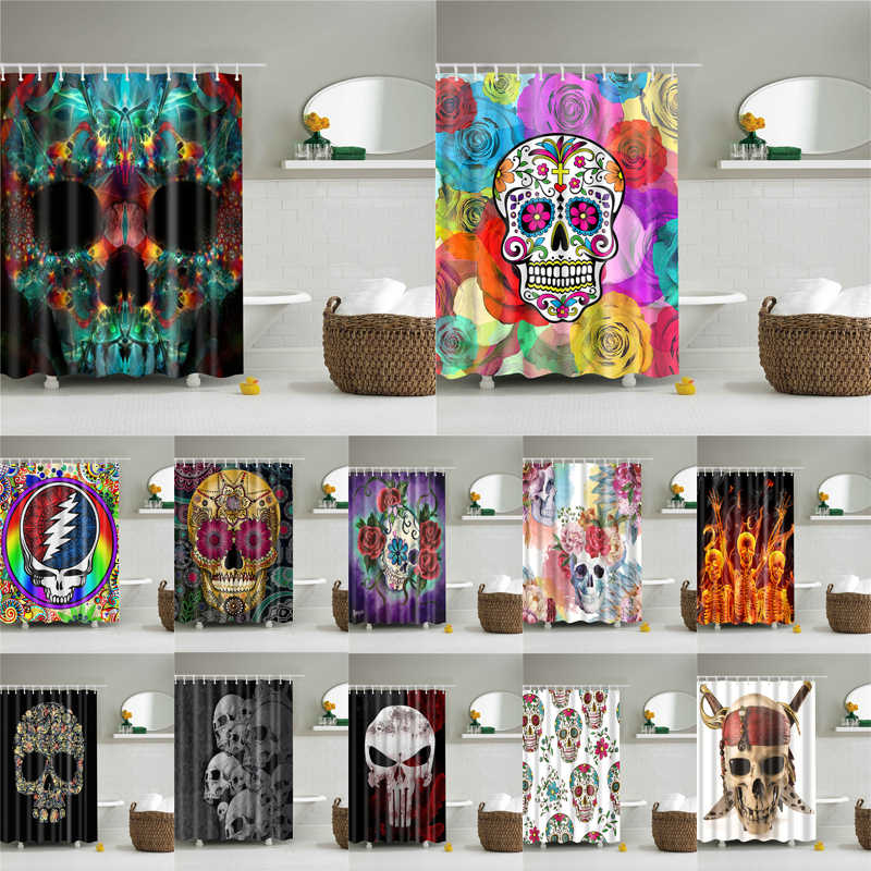 3D Printing Flowers Skull high quality washable bath curtains screen for bathroom decoration polyester fabric shower curtain