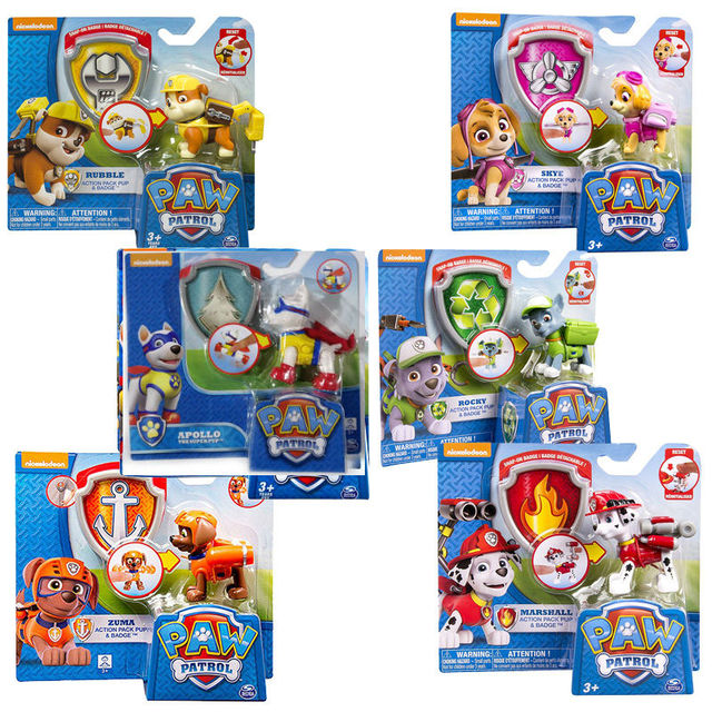 US $9 95 50% OFF|New Arrival Original 1pc Paw PATROL cute Dog toys Lovely  action Figure chase apollo puppy patrol Doll Birthday gift -in Action & Toy