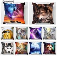 Fuwatacchi 3D Fluorescence Wolf Animal Print Cushion Cover Dog Tiger Pillowcase Sofa Chair Home Car Decor throw pillows