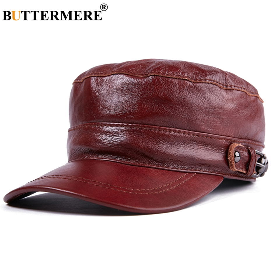 Buttermere Navy Military Hats For Men Brown Captain Caps Male Genuine Cow Leather Adjustable Army Cap Autumn Winter Sailor Hat